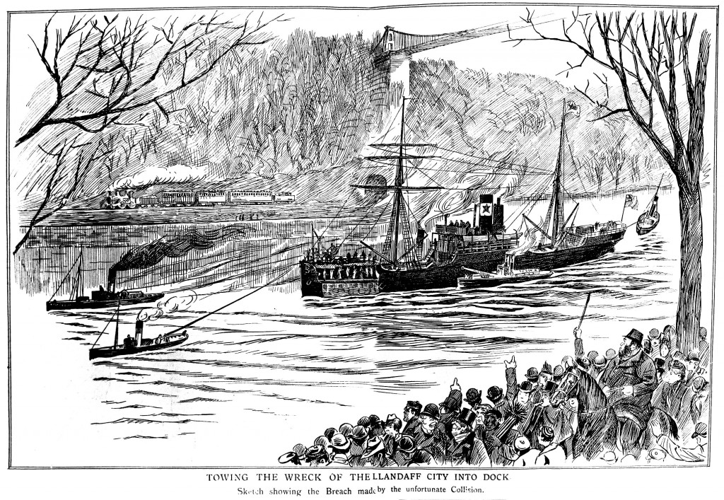 Towing the wreck of the Llandaff City into dock.