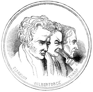 The abolishionists Thomas Clarkson, William Wilberforce and granville Sharp