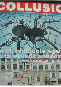 Republican mural drawing attention to the complex web of organisations involved in the counter-insurgency campaign in Northern Ireland