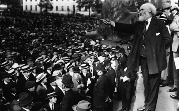 Anti-war politician Kier Hardie addresses a protest in Trafalgar Square (Sunday August 2nd 1914)
