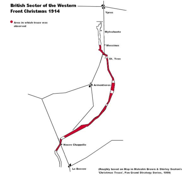 Map showing the British sector of the Western Front in December 2014, with areas where fraternisation between opposing sides occurred shown in red fill.