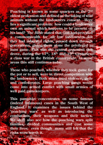 Poaching in the South West Back Cover