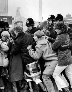 Miner's wives picket Yorkshire Main pit, Miner's Strike.