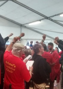 Red Notes Choir from Bristol celebrate Corbyn's win the Labour Leadership race