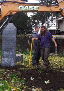 Installing the memorial.