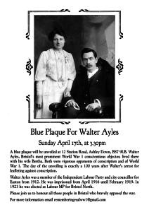 Walter Ayles Blue Plaque Invite