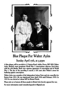 Walter Ayles Blue Plaque Invite
