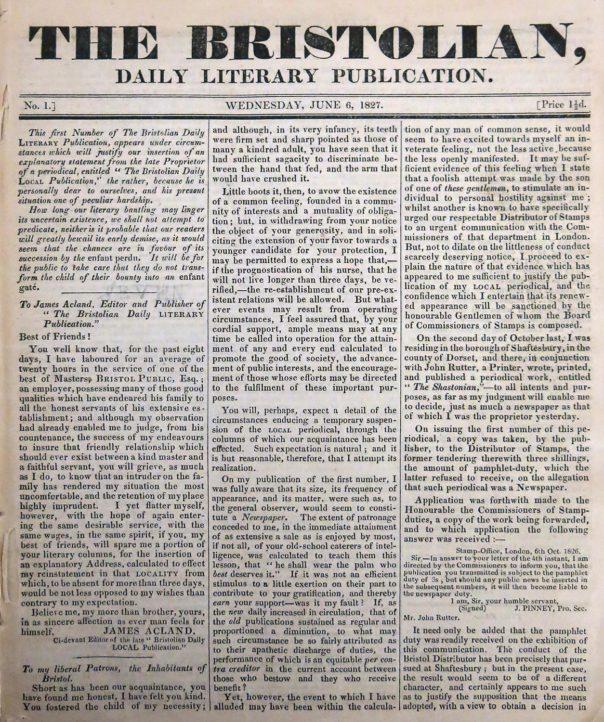 The Bristolian 6 June 1827