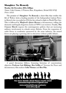 Resisting the War Programme Back Cover