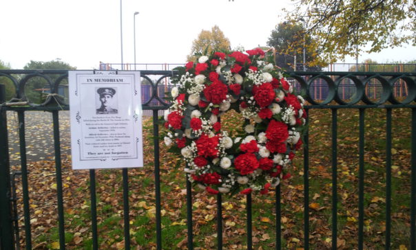 The wreath laid in memory of the Jeffries Brothers who died at The Somme in 1916
