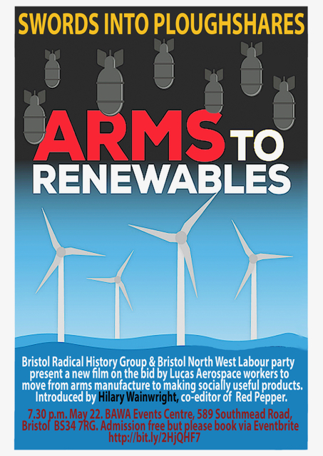 Film poster Swords into ploughshares Arms to Renewables