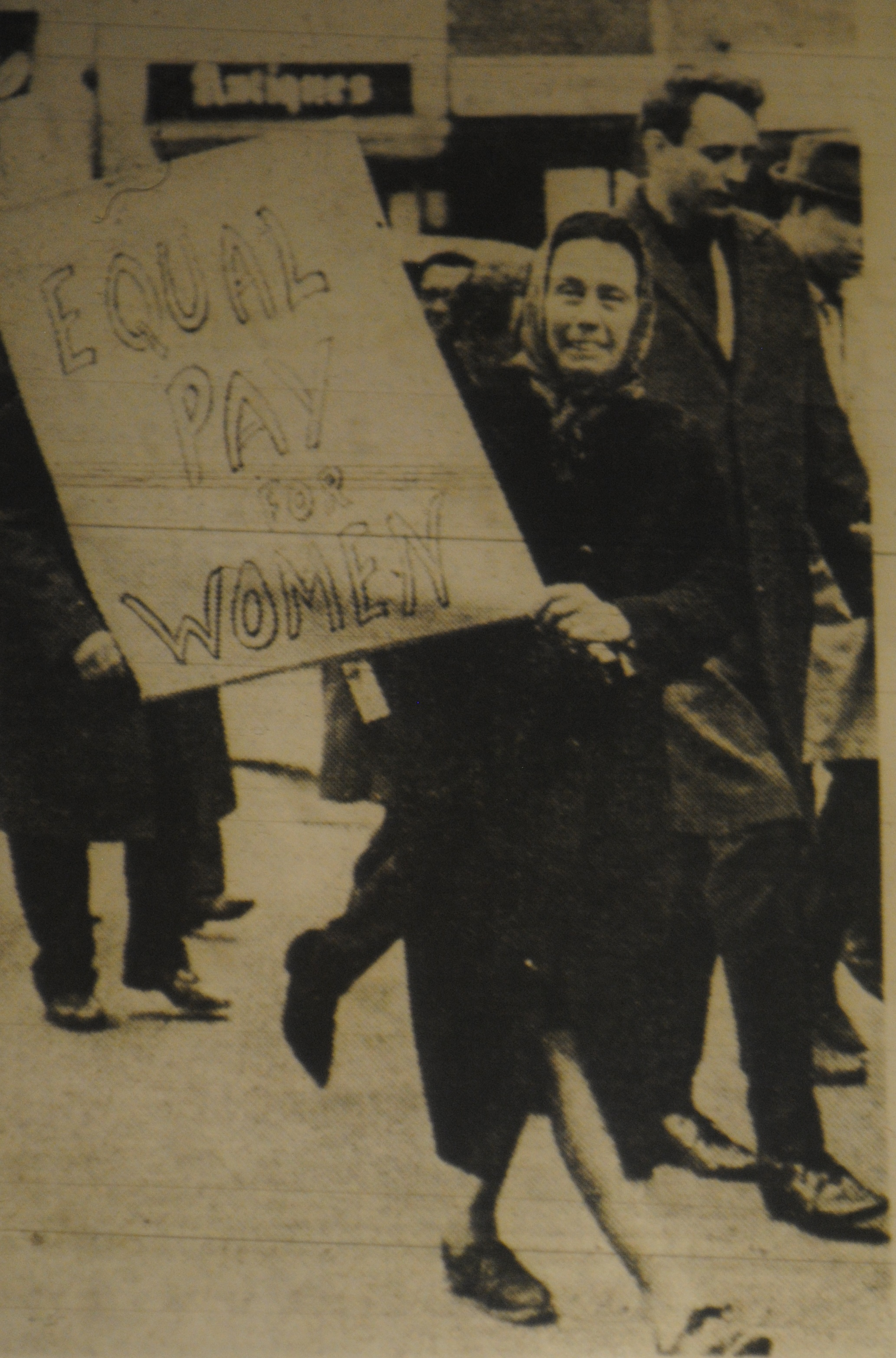 Woman on a engineers' strike march