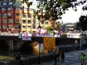XR Protesters and banners on Bristol Bridge
