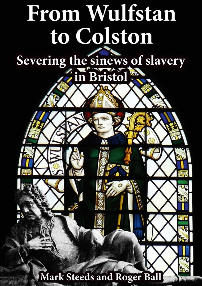 Front cover showing a stained glass window with St Wulfstan and Colston as depicted on his tomb