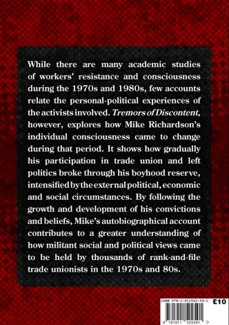 Tremors of Discontent Back Cover